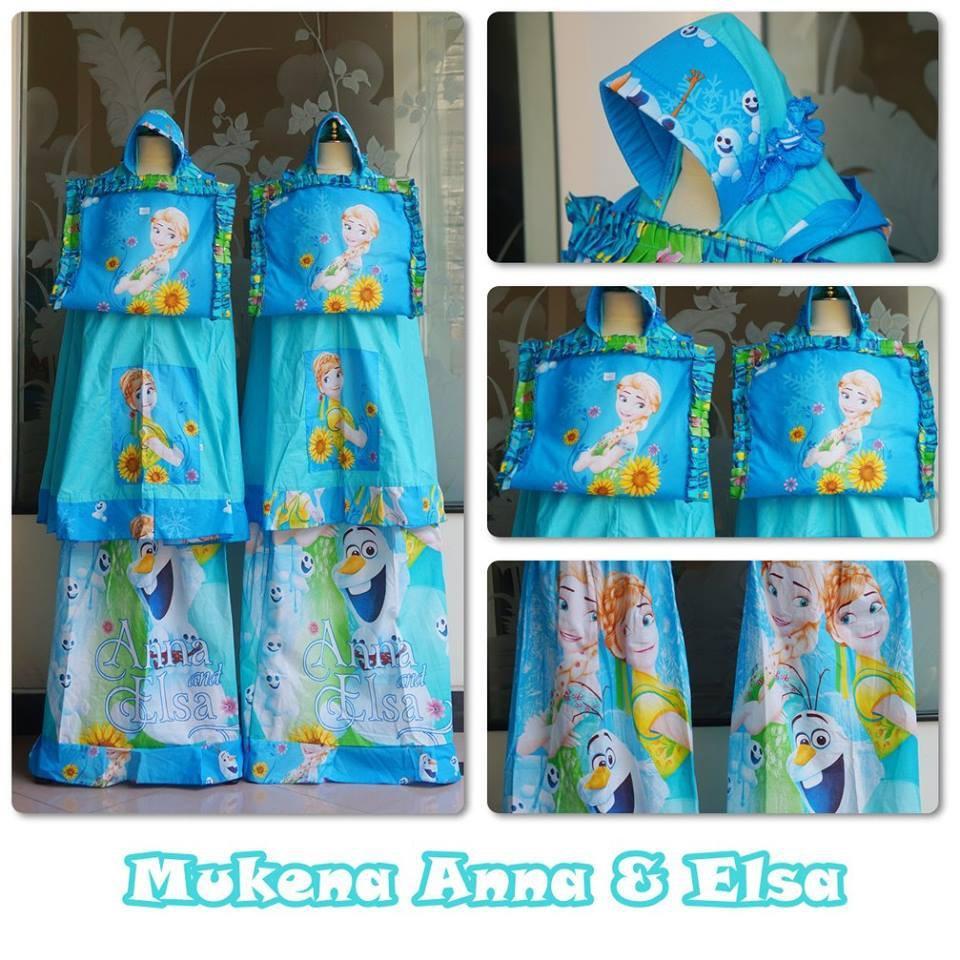 Mukena Anak Katun Frozen Anna Elsa Size M