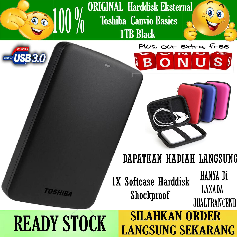 Toshiba Canvio Basic 1TB - HDD / HD / Hardisk Eksternal - Hitam - Gratis - Case Harddisk