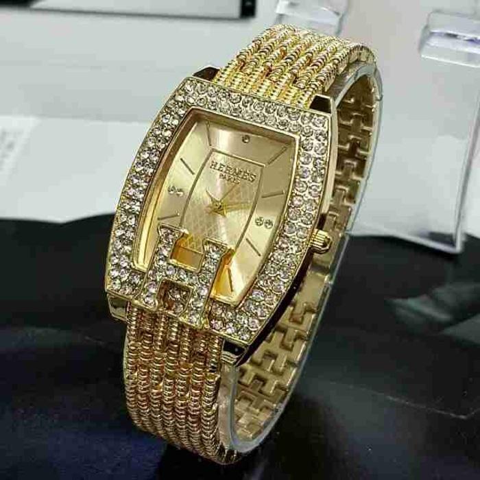 PROMO TERBATAS!!! Jam Tangan Wanita Cewek Hermes Jtr 518 Gold Terbaru Murah