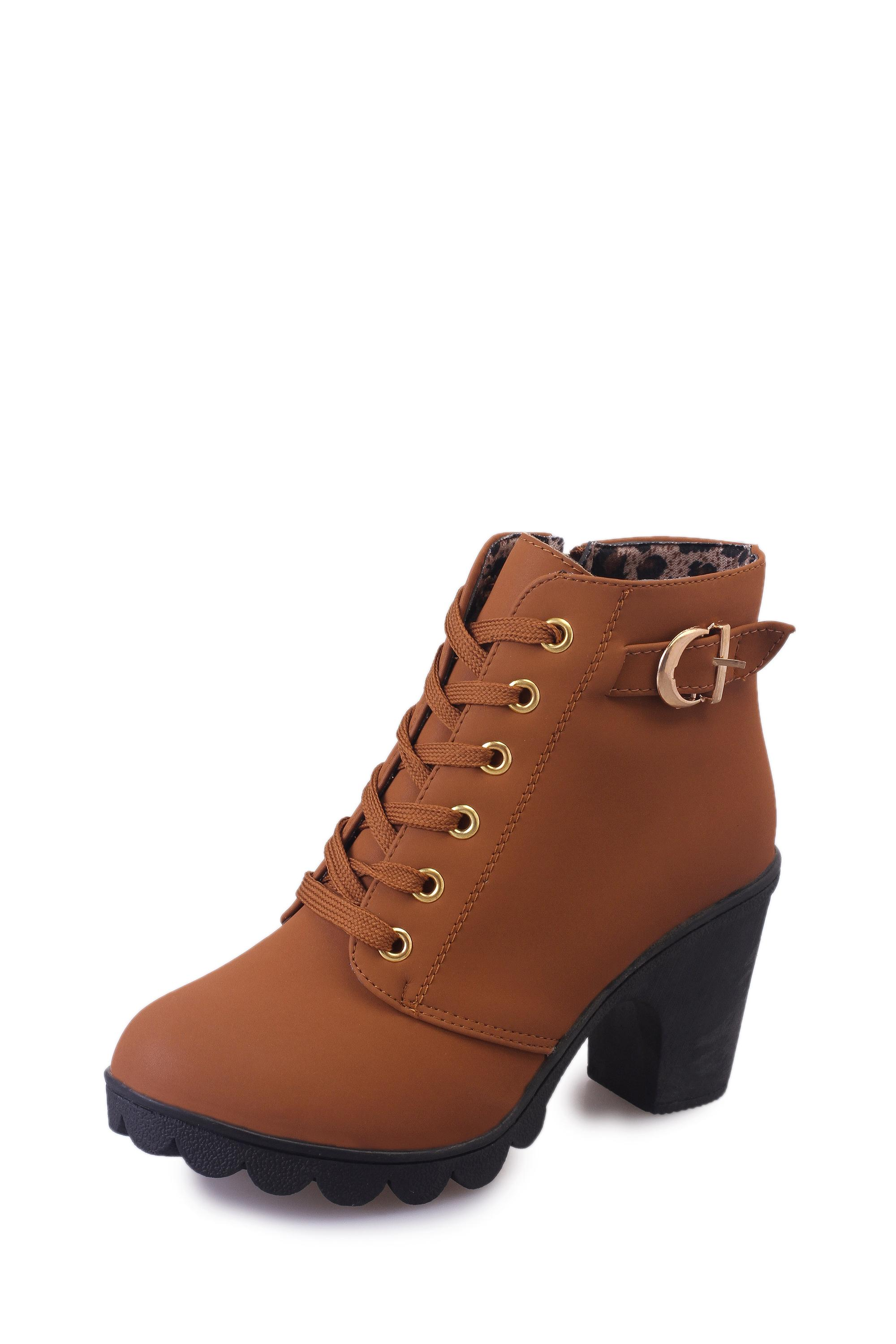 Women s European and American-style chunky-heel round Martin boots 233ed4991623