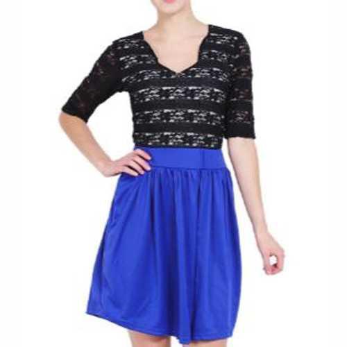 Best Seller!!! pakaian wanita baju cewek mini dress brokat rok biru neon clo208 Keren Terbaru Murah