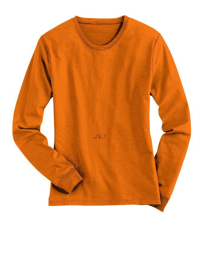 Jual Kaos Polos Lengan Panjang Katun Orange XL - 4XL Big Size Jumbo