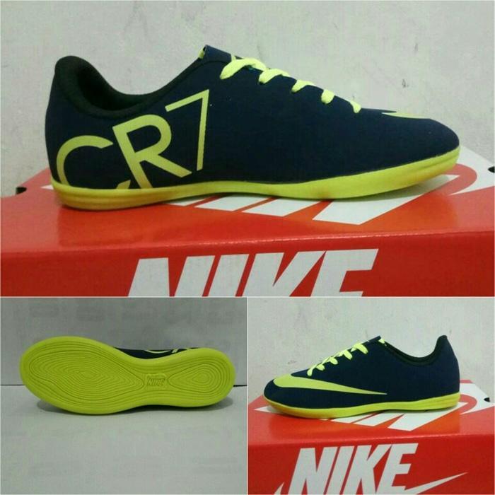 Sepatu futsal anak nike cr7 (navy list stabilo)