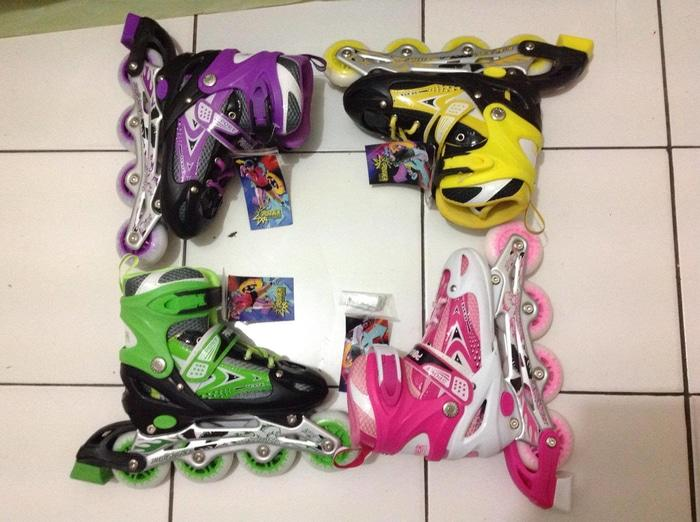 (Star Product) Sepatu roda inline skate power line warna warni