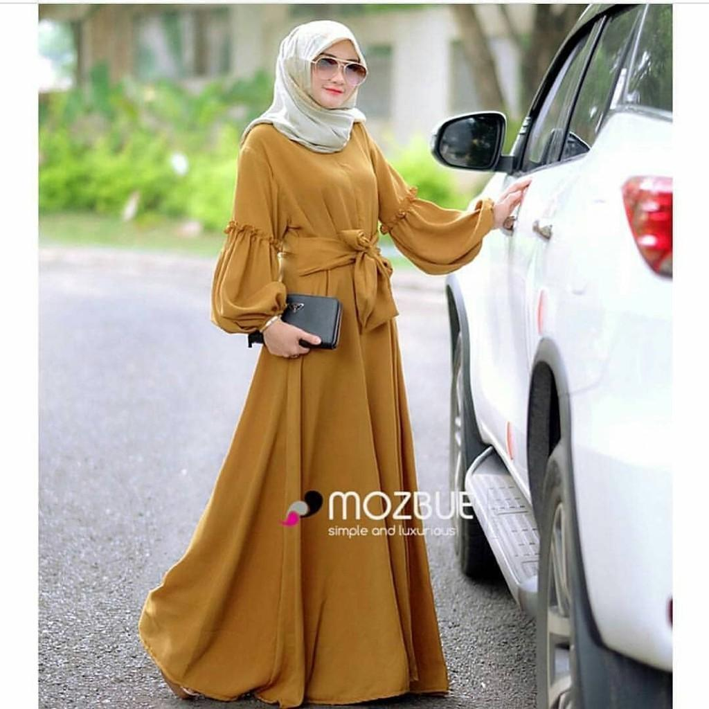 Brenda Dress / Gamis Hijab Murah Wanita / Maxy Harga Grosir / Maxi Pakaian Online / Busui Friendly Black