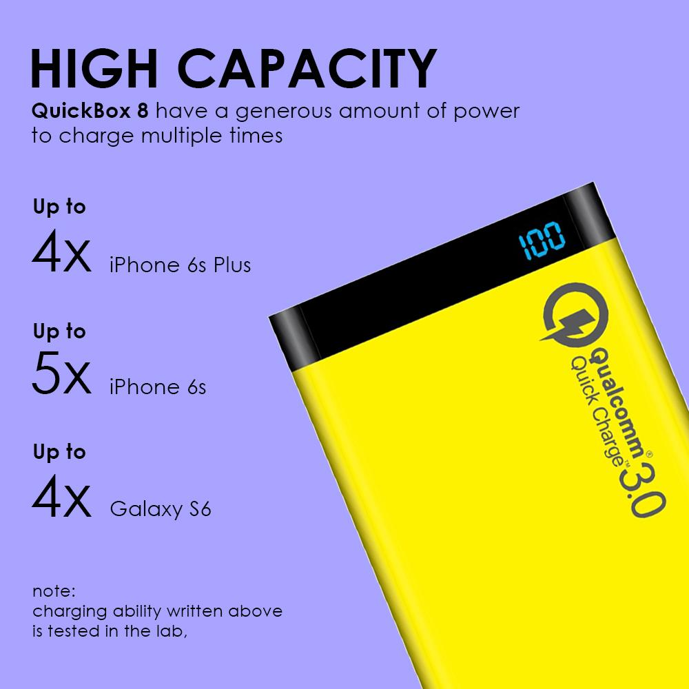 Uneed Upb8q3 Powerbank 8000mah Qualcomm Quick Charge 3 0 Black Zola Thunder 2q 30 Usb Charger 2 Outputs Shock Price Quickbox Dual Port Real Capacity