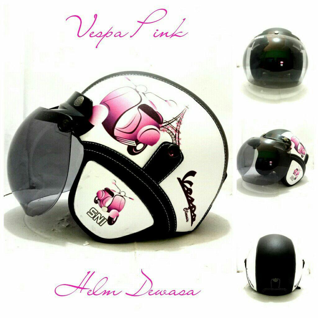 Helm Bogo Retro Motif Vespa Pink Printring Kaca Bogo Original