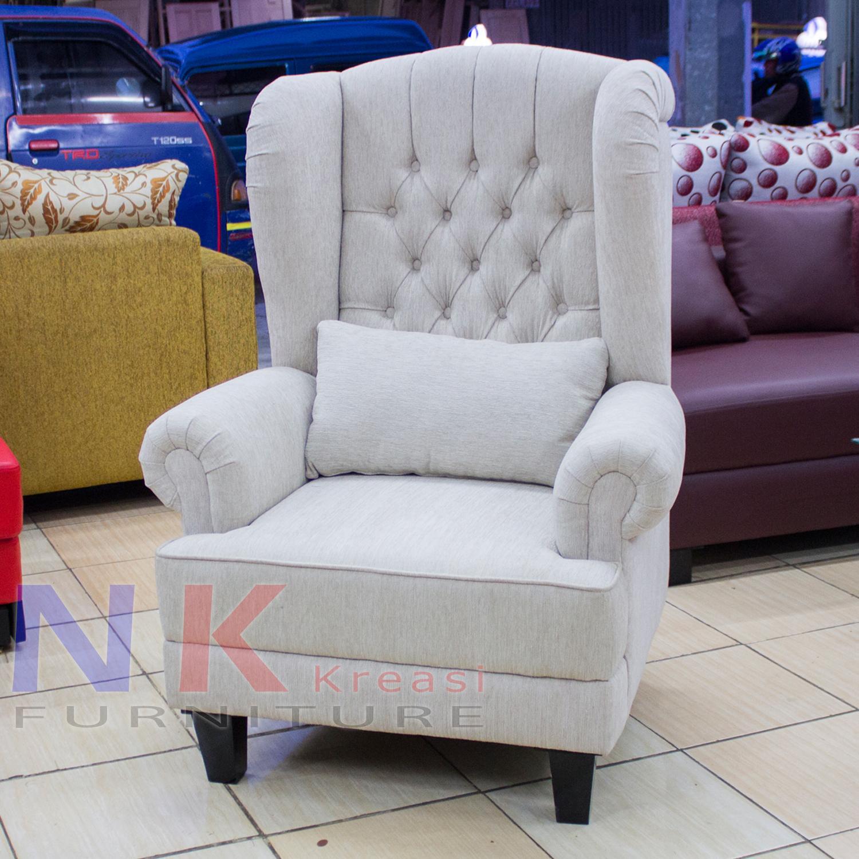 Sofa Wing Chair mewah, kursi wingchair single klasik minimalis modern - JABODETABEK ONLY