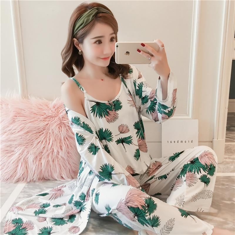 Summer Pajamas women Long Sleeve Thin Cotton Silk Set s Nightgowns    Sleepshirts Camisole Loose And Plus 7a012f52f