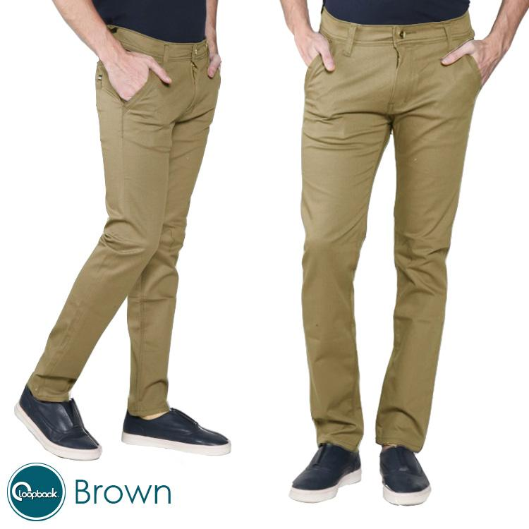 Celana Chino Pria Slim fit Hugo Gold / Gold Smith Premium Quality By Loopback