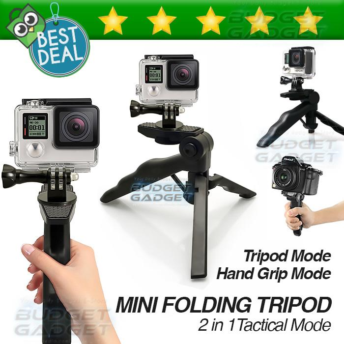 Tripod Mini Foldable 2 In 1 Untuk DSLR Gopro Handycam Camera