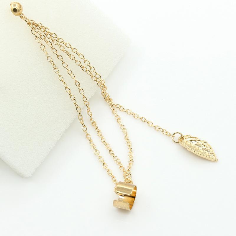 Detail Gambar OILA anting rumbai daun / metal leaf tassel ear clip earrings JAN032 Terbaru