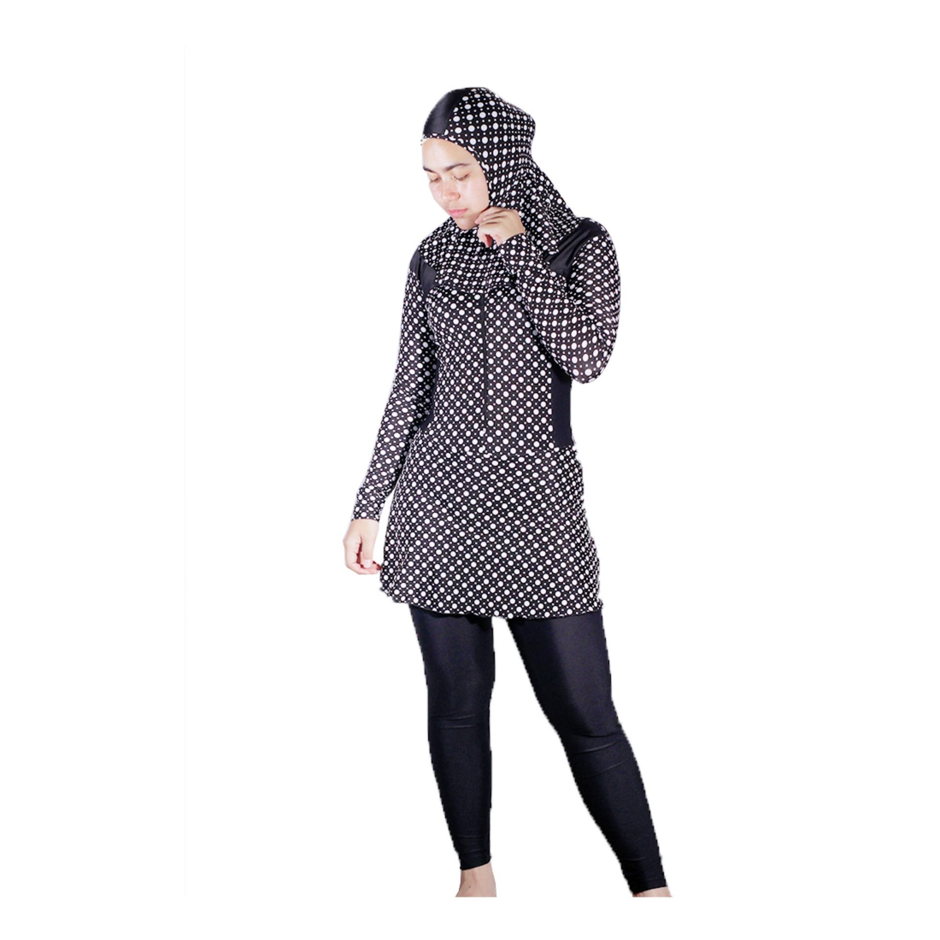 Mall BTM Fashion - Diana Baju Renang Muslim Atasan Dan Bawahan Terpisah Motif Polkadot Harga Murah - Hitam