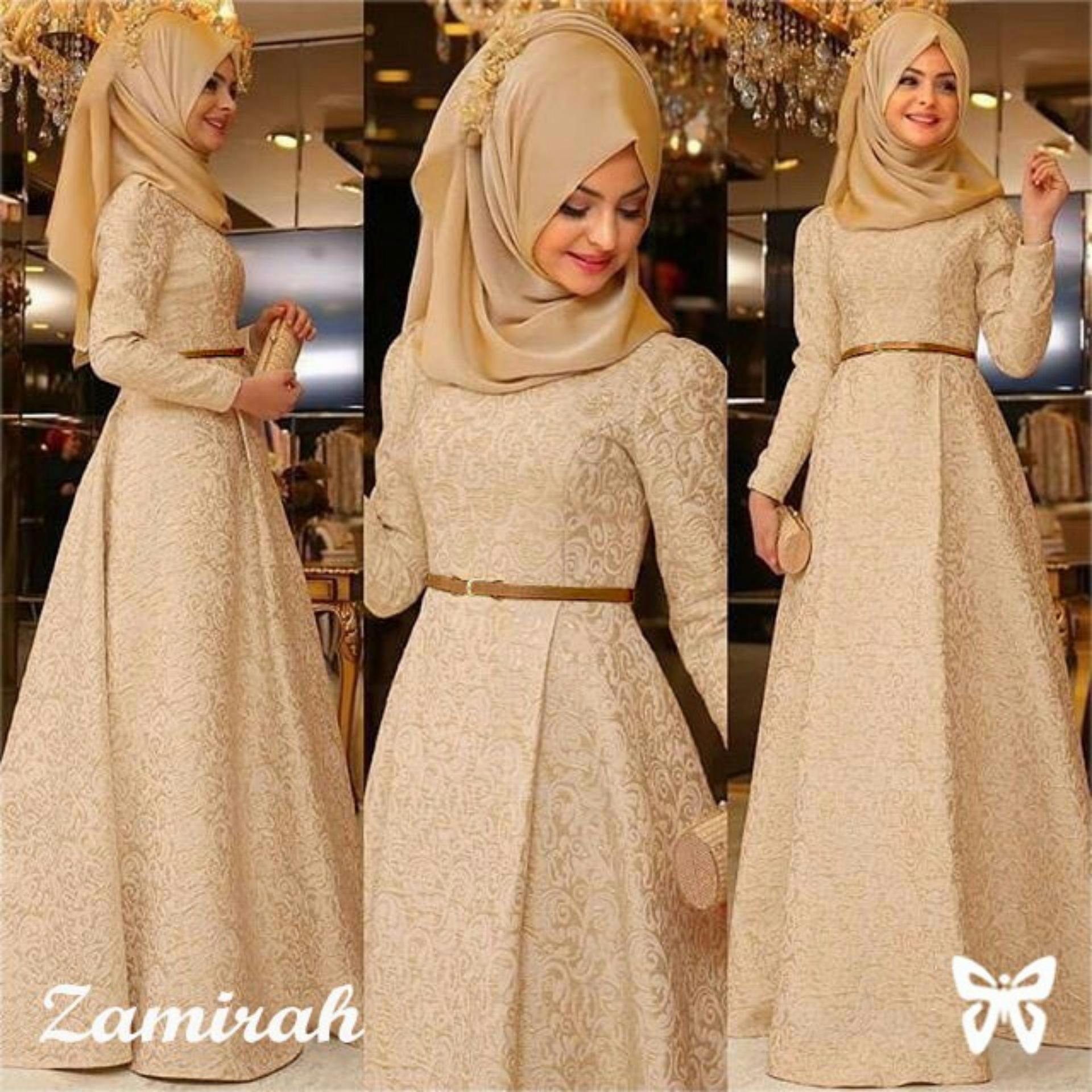 Baju Wanita Shop Dress Gamis Muslim Mirah / Hijab Muslim / Muslim Syari Hijab Syar'i / Busana Muslimah / Kebaya Modern Lebaran (Mirahza)  SS - Mocca / Gaun Pesta Lengan Panjang 2018