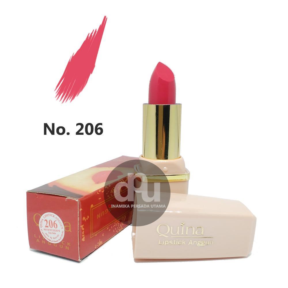 Lipstik Anggun QUINA Lipstick Glossy 206  / Makeup Bibir / Lipstik Glossy / Kosmetik / Kecantikan / Perawatan Make up