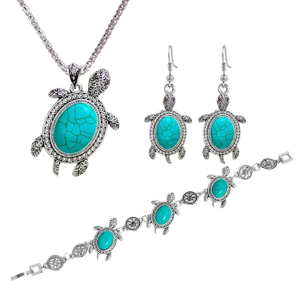 Jual Beli Wanita Tortoise Perak Kalung Biru Pirus Anting 1 Set Perhiasan Due To The Light And Screen Setting Difference Color Of Item May Be Slightly Different From Pictures 2 Please Forgive Slight Dimension