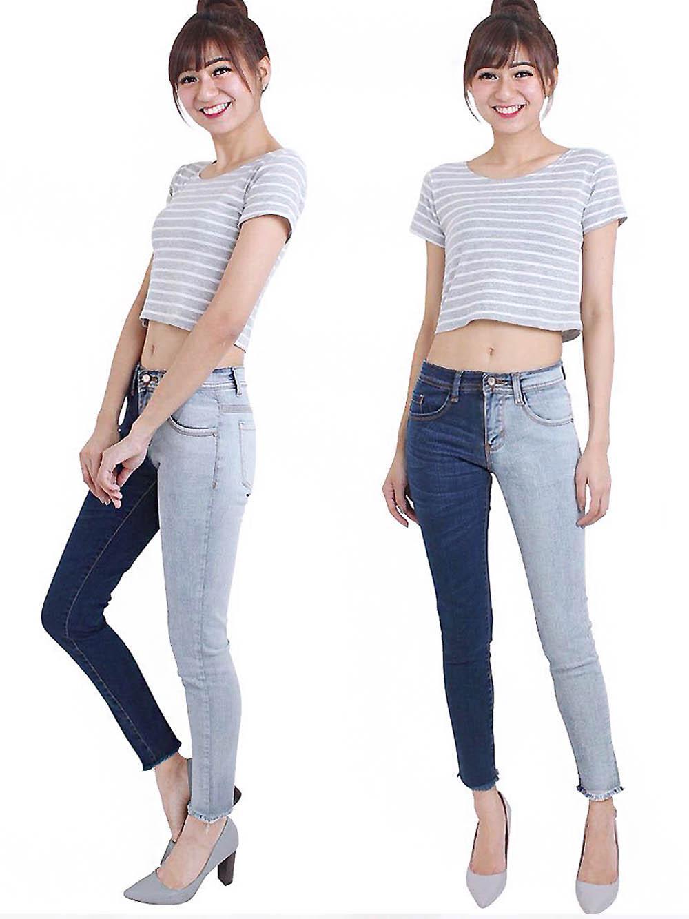 Celana Skinny Jeans Wanita Blouse Fashion- HW TWO FACE MAZ 8483 (MODEL DAN WARNA SESUAI GAMBAR)