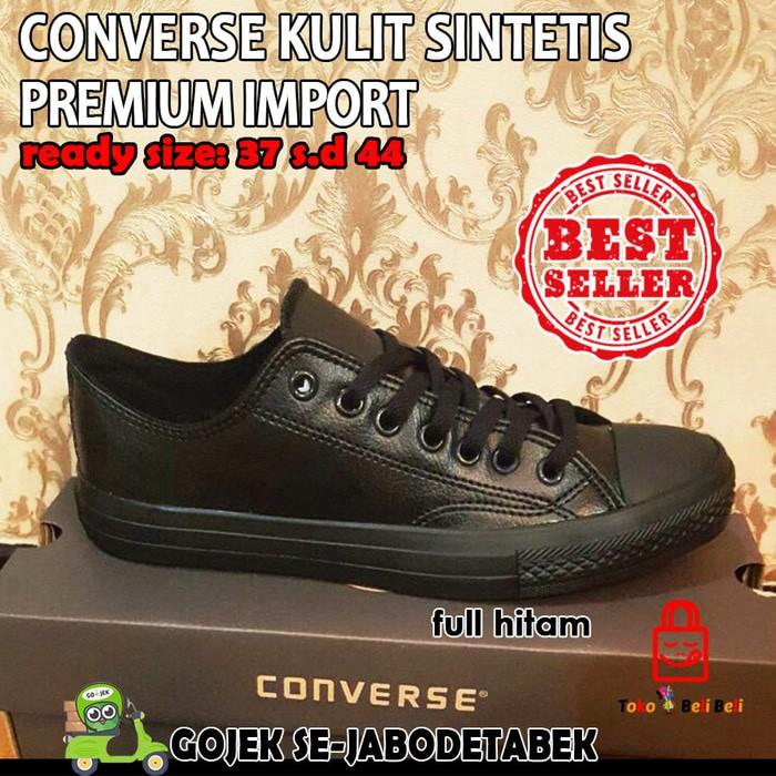 Converse All Star Kulit Sintetis Low - Full Hitam   Sepatu Sneakers - Fdjpxb 89194b0af5