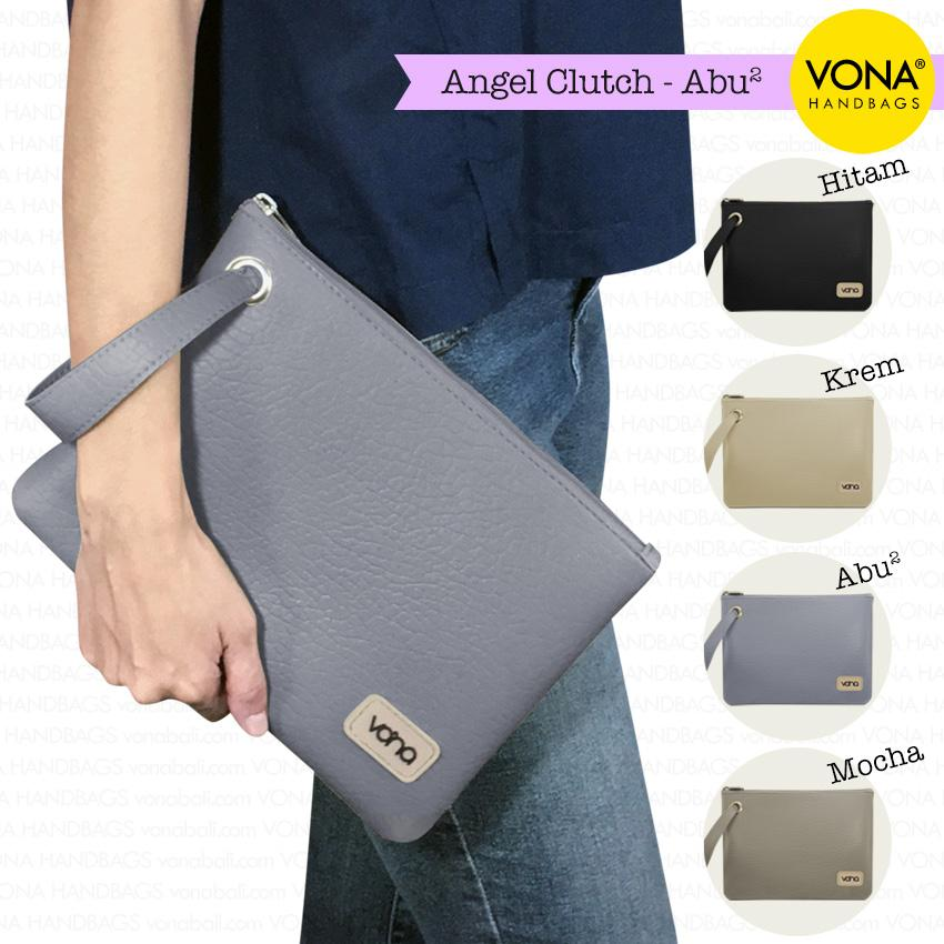 VONA Angel - Tas Clutch Wanita Remaja Cewek Kecil Mini Cantik Dompet Pouch HP Branded Original Murah Tali Lebar Korean Style Fashion Bali Indonesia Kulit Sintetis PU Faux Leather Women Girl Hand Bag Handbag Wristlet Best Seller New Arrival Baru Terlaris