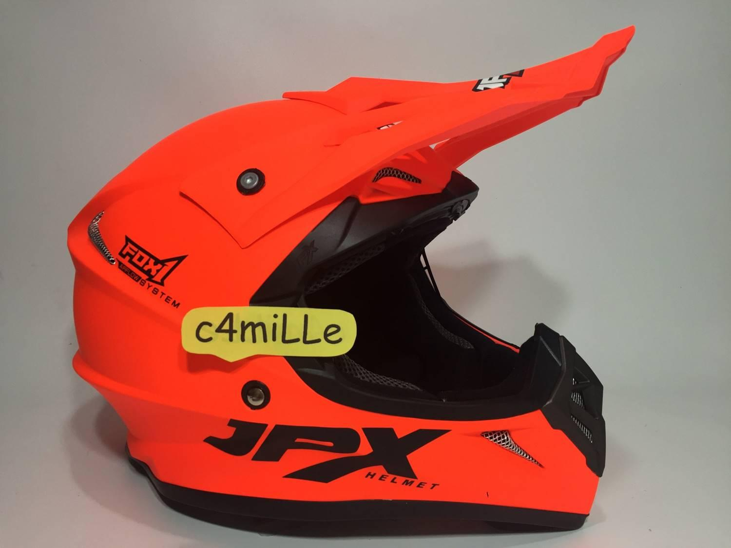 HELM JPX CROSS SOLID RED FLUO DOFF TRAIL SUPER CROSS