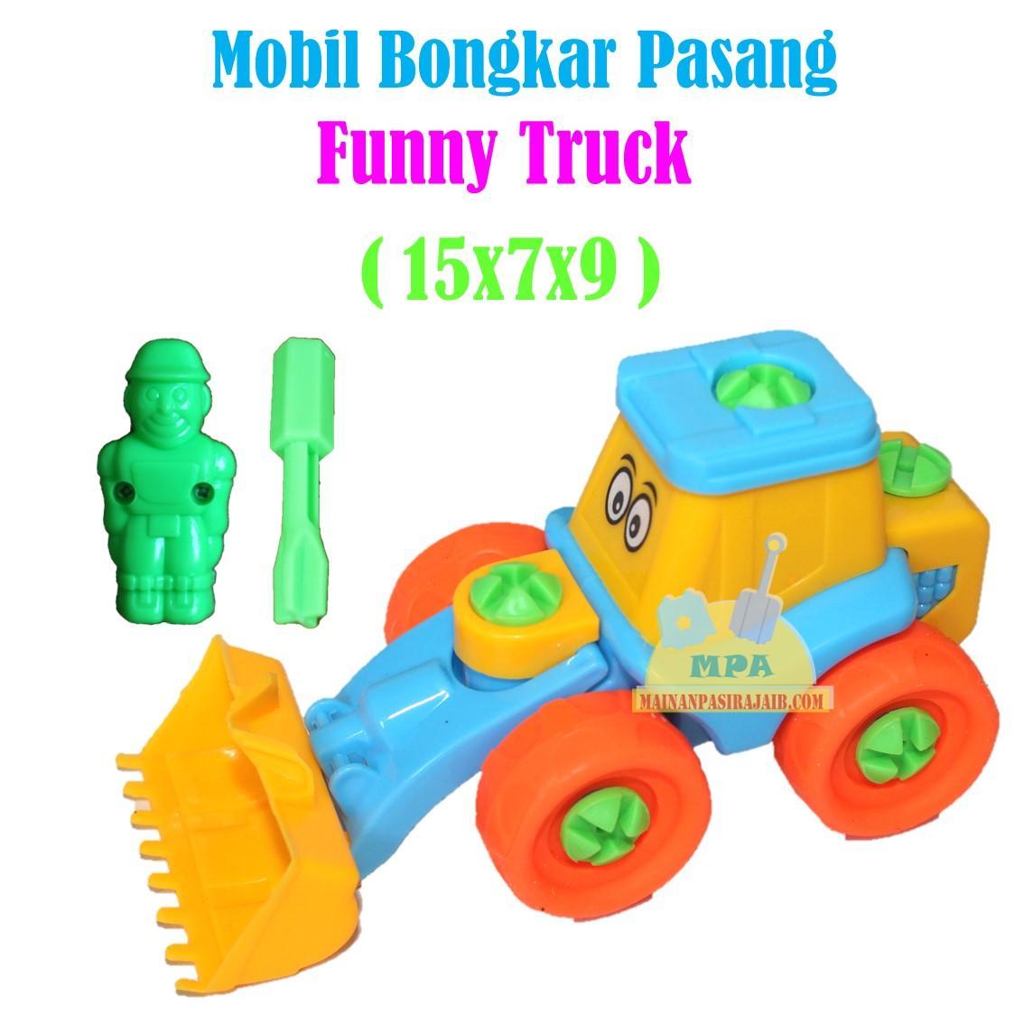 mainan anak funny truck bongkar pasang