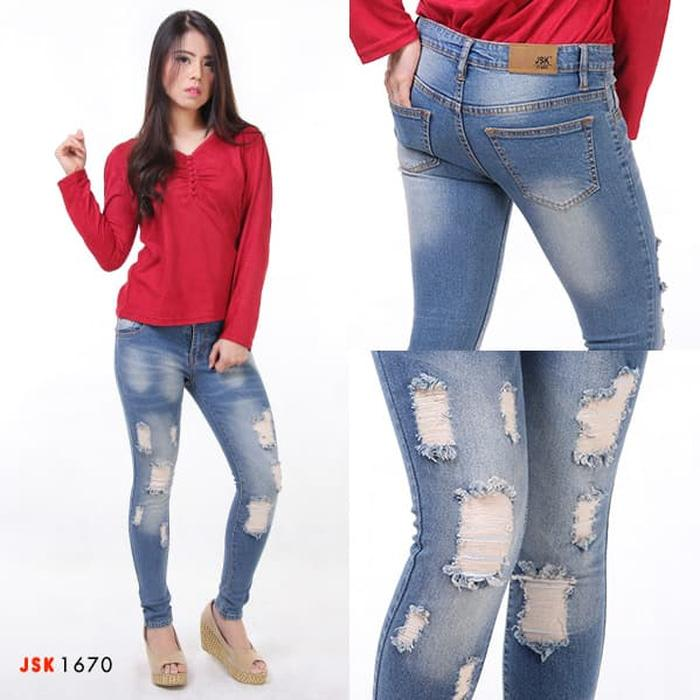 JSK 1670 - Jual Celana Ripped Skinny Jeans Wanita Premium Original - Telur Whisker- 27