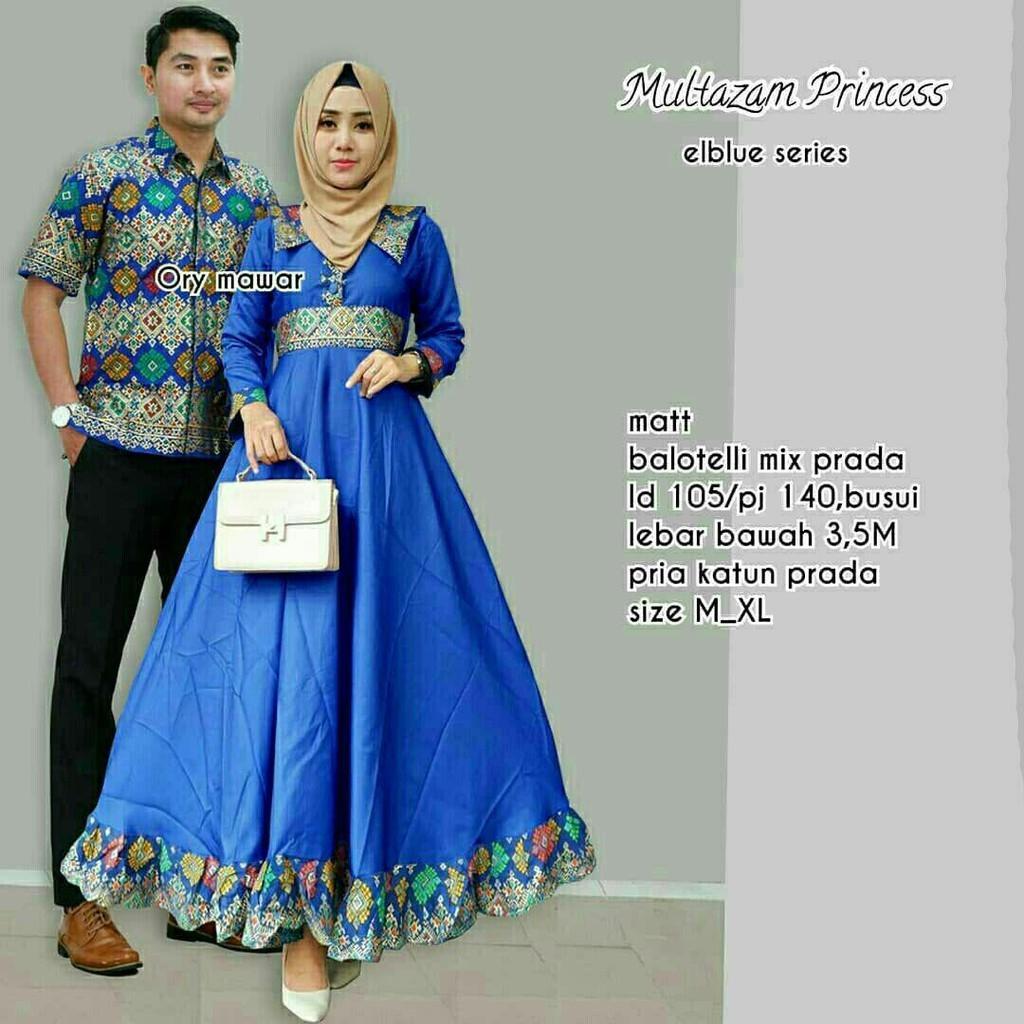 TERMURAH - Baju batik couple - baju muslim wanita terbaru 2018 - kebaya coupel Modern - Couple Batik - Batik Sarimbit - Batik Kondangan - Baju batik Multazam Princes Biru