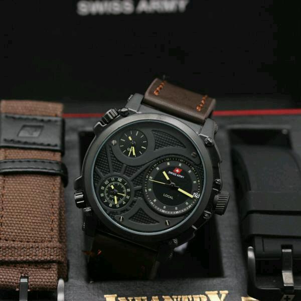 Nafka Store - Jam Tangan Original Infantry - 3 Waktu Full Set Dengan 2 Tali Cadangan