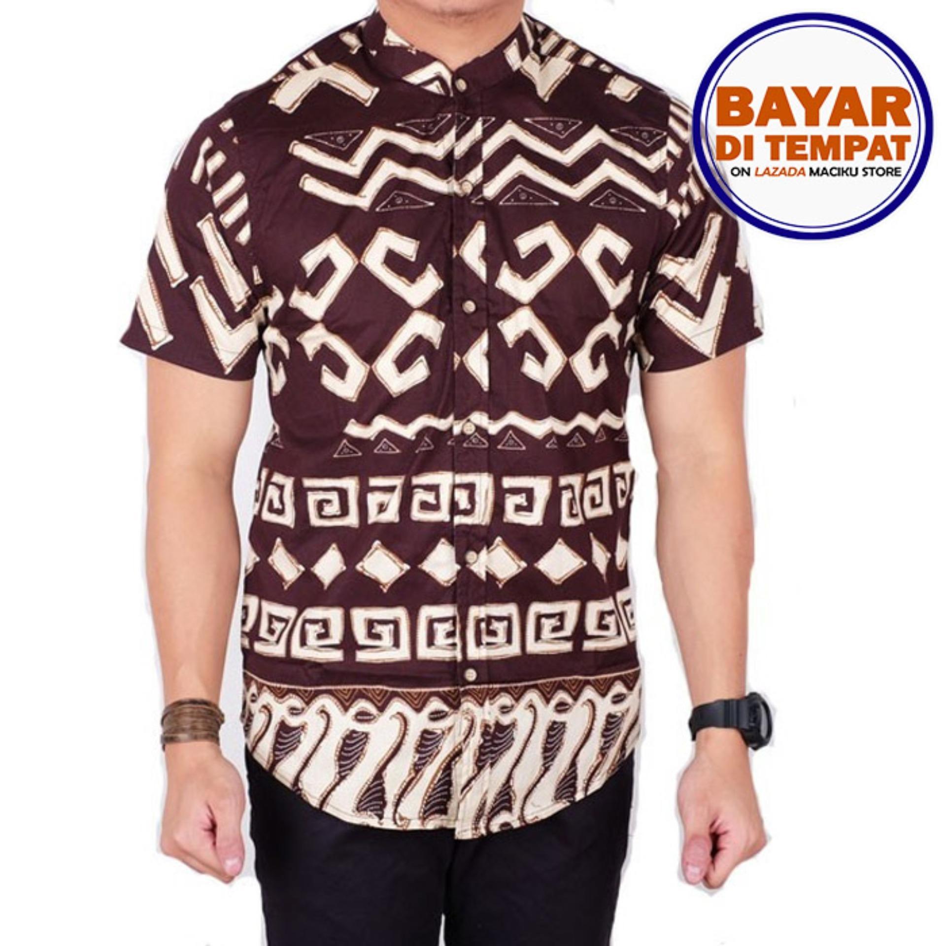 Maciku Kemeja Pria Batik Songket Pria Lengan Pendek Slimfit / Batik Songket Lengan Pendek Kemeja Batik