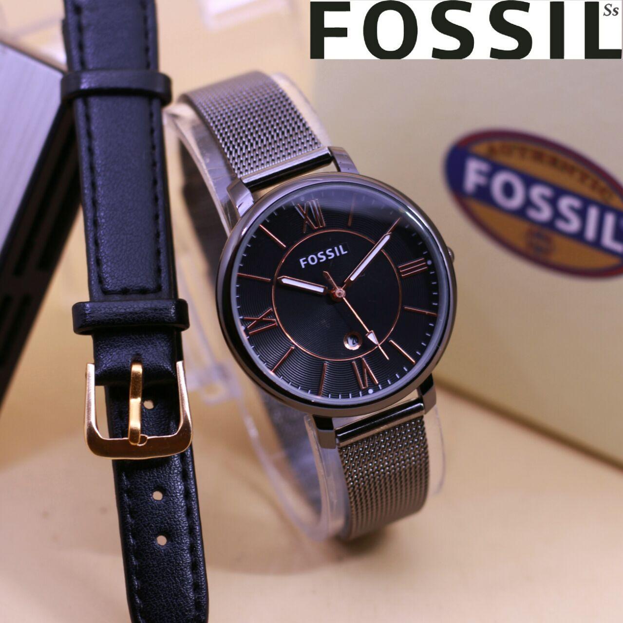 Fossil jam tangan wanita rantai pasir lengkap dengan box dan tali cadangan