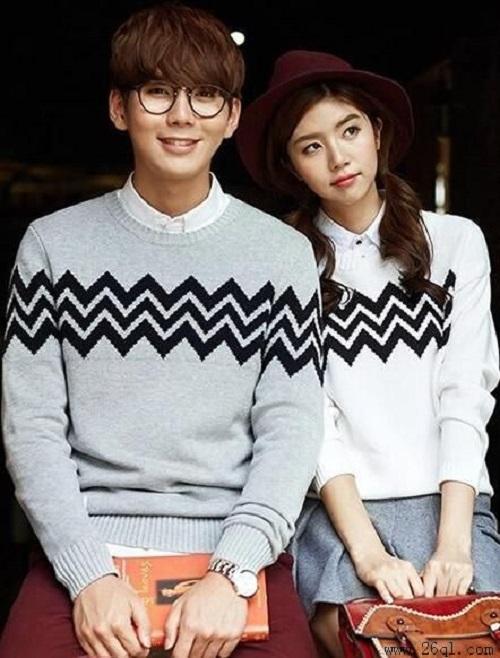 cs -  sweater pasangan / couple babyterry zigzag l multi warna l abu-abu l