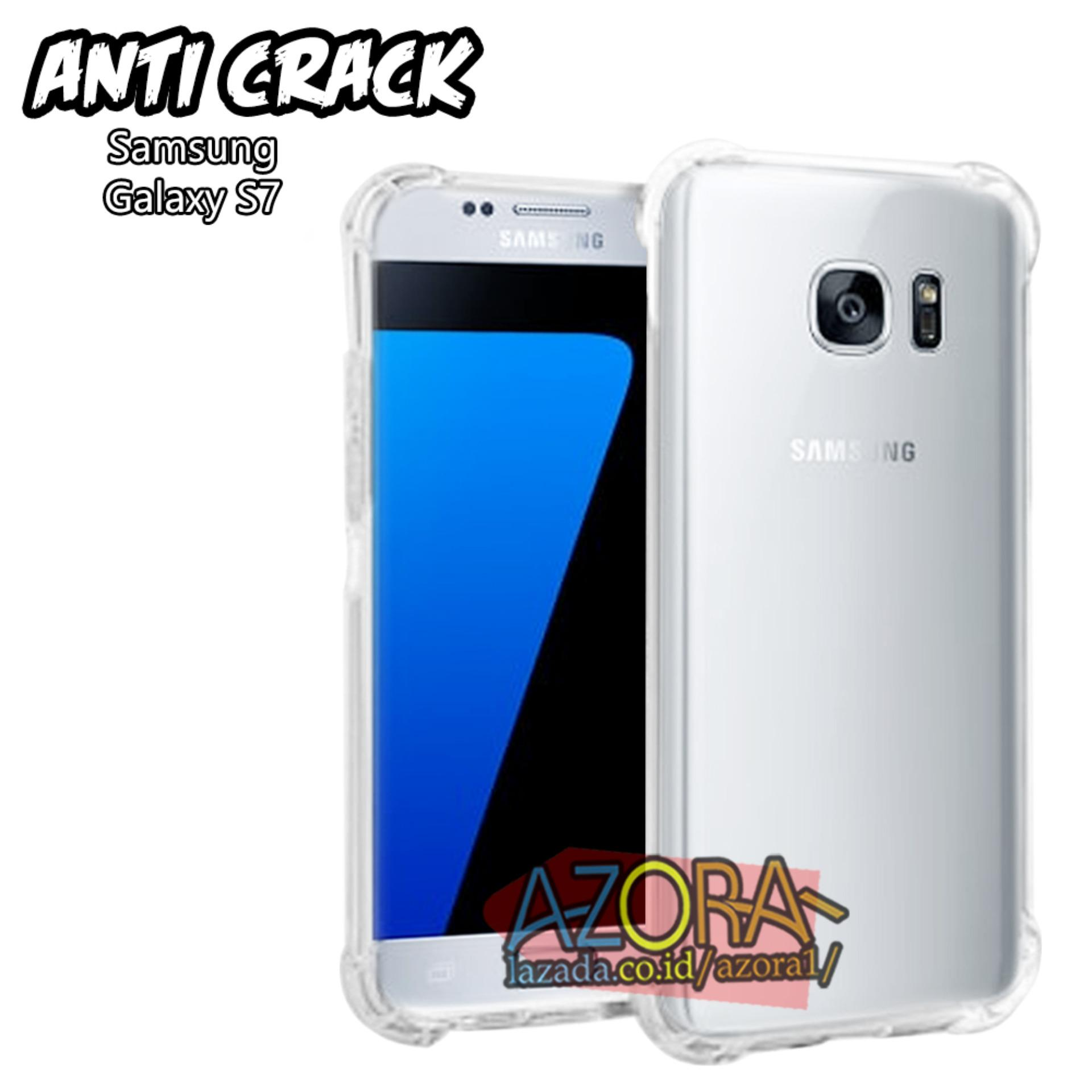 Case Anti Crack Samsung Galaxy S7 Flat Biasa Ultra Thin Anti Shock Jelly Silikon Shockproof Softcase Azora - Bening