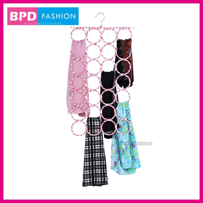 BPD Hanger Gantungan Jilbab Hijab Kerudung Pasmina Khimar Organizer 28 Ring Origami