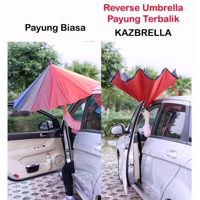 WARNA - Payung Terbalik Reverse Umbrella Gagang C Grosir Payung Murah Grosir Payung 1.140g