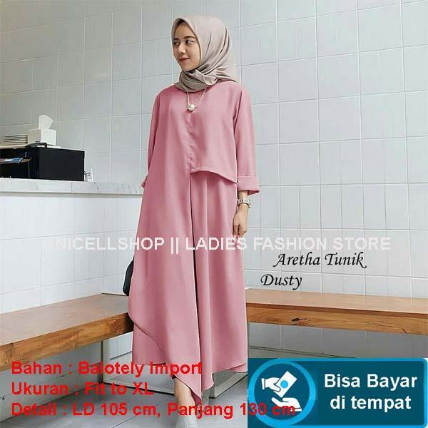 Baju Wanita Shop Katun Kemeja Tunik Jumbo Dress Muslim Rosi / Gamis Remaja Fashion Long Maxi Muslimah Terbaru/ Syari Simple Elegant / Baju Muslim Wanita Tren Terkini AK (ethaar) - Dusty Pink