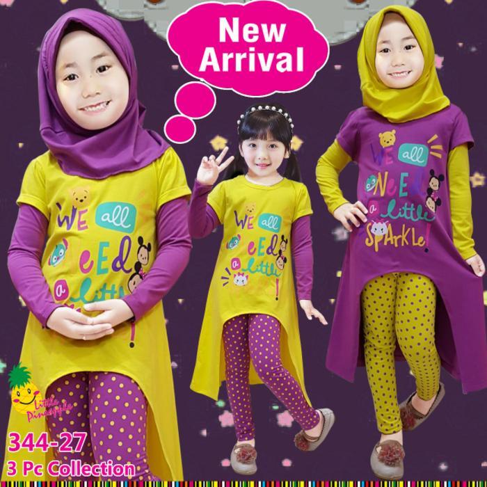 New  Baju Muslim Anak Perempuan Little Pineapple Tsum Sparkle Kuning Ungu