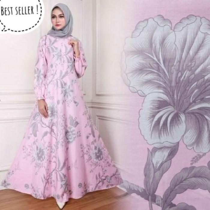 (JNH Shop)  Gamis Maxy Bunga Ima Pink Baju Wanita Dres Murah Maxi 08 TA