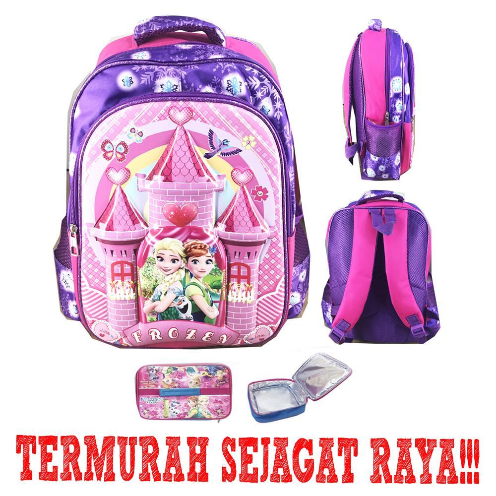 BGC Tas Ransel Sekolah Anak SD Frozen Fever Castle 6D Timbul IMPORT + Lunch Bag ALuminium