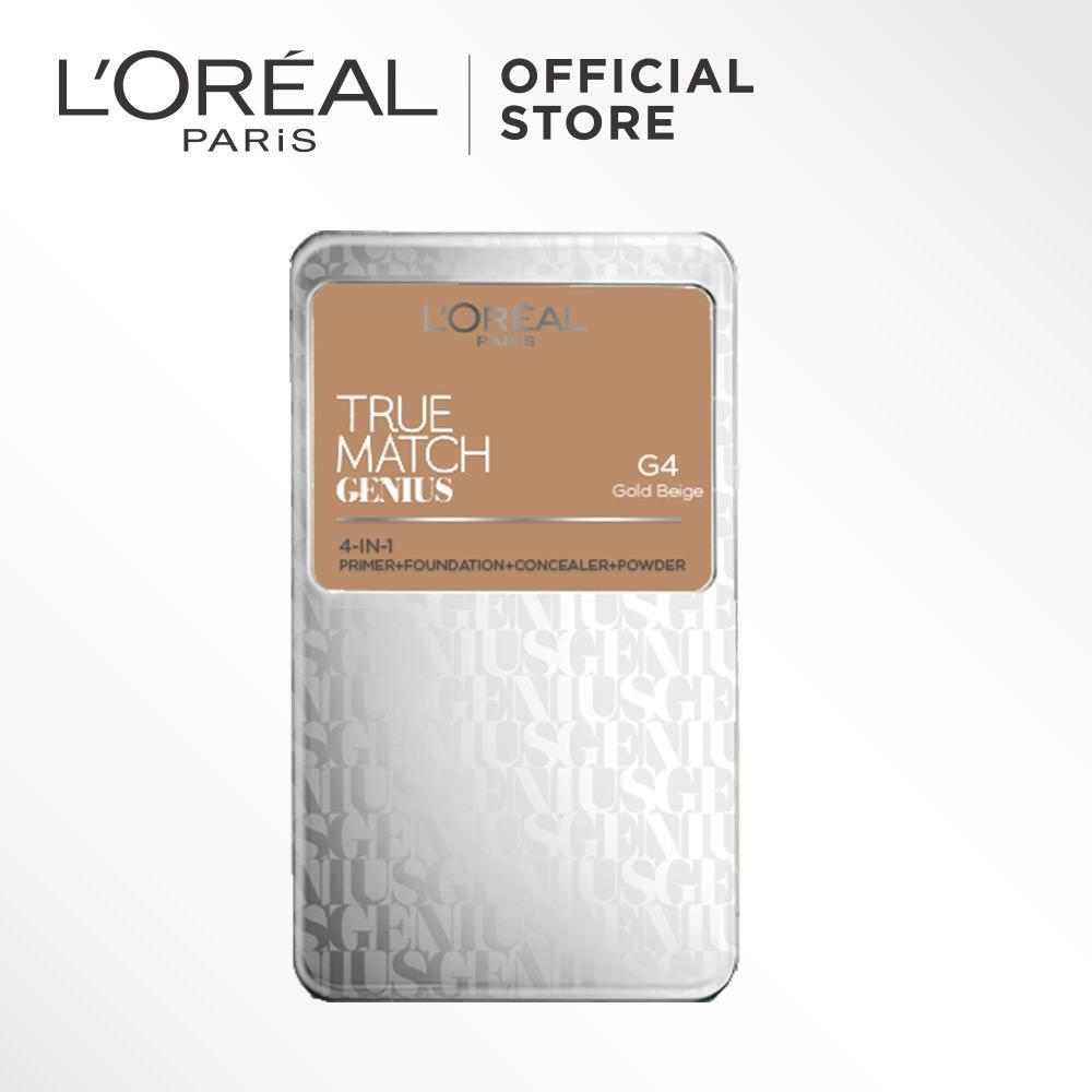 L'Oreal Paris True Match Genius Two Way Cake - G4 Gold Beige by L'Oreal Paris Makeup   Loreal  Padat / Compact Powder Matte High Coverage For All Types of Skin / Semua Jenis Kulit Lightweight Ringan  Blendable