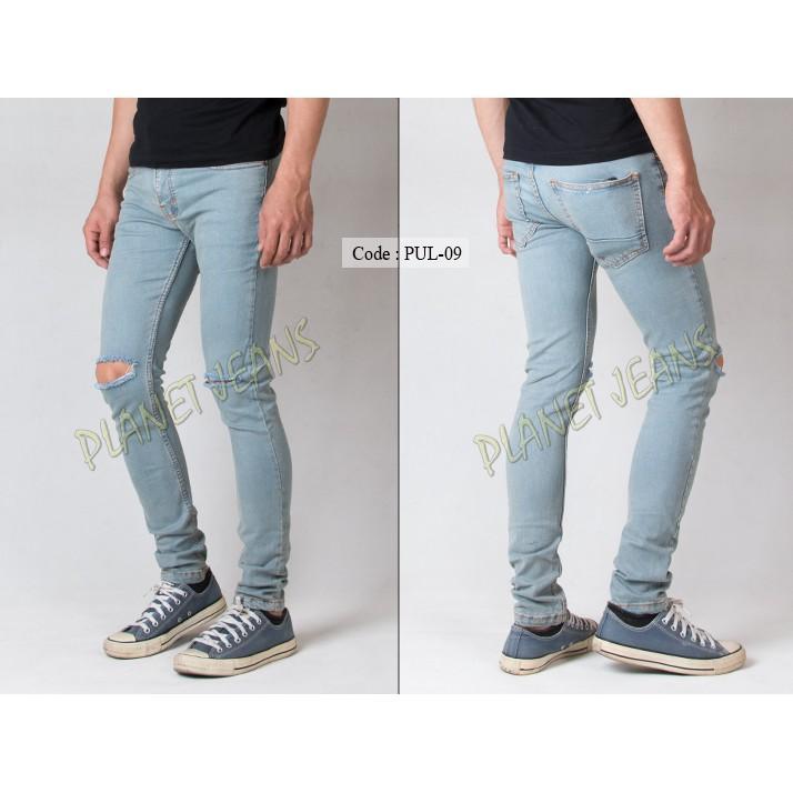 Celana Jeans Pria Ripped Sobek / Robek Lutut Model Skinny / Pensil F45