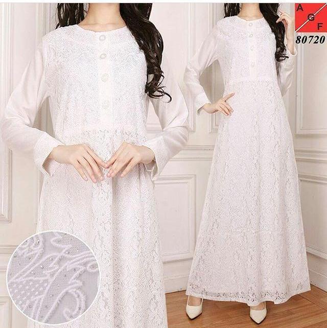 white dress Gamis Brokat Brukat Putih Bersih Kancing Jumbo Untuk lebaran pesta haji umroh
