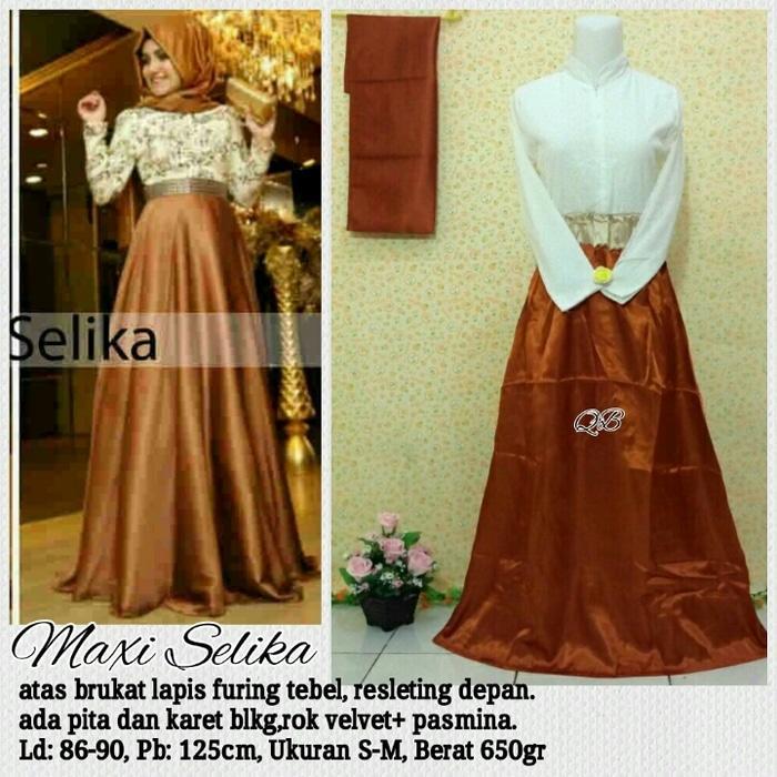 [SALE] Baju Maxi Dress Selinka Gold Brokat- Baju Pesta Brukat Murah