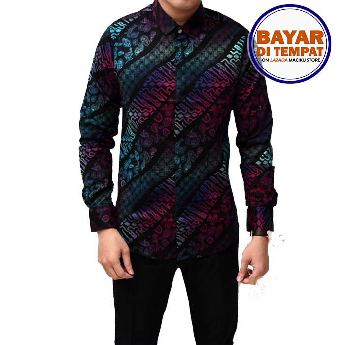 Maciku Kemeja Batik Pria Lengan Panjang Batik Songket Long Gradation