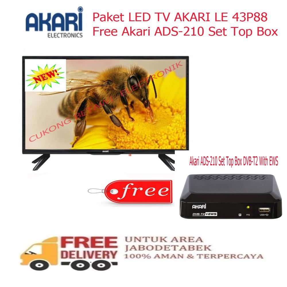 Paket Murah LED TV AKARI LE 43P88 Free Akari ADS 210 Set Top Box-KHUSUS JABODETABEK