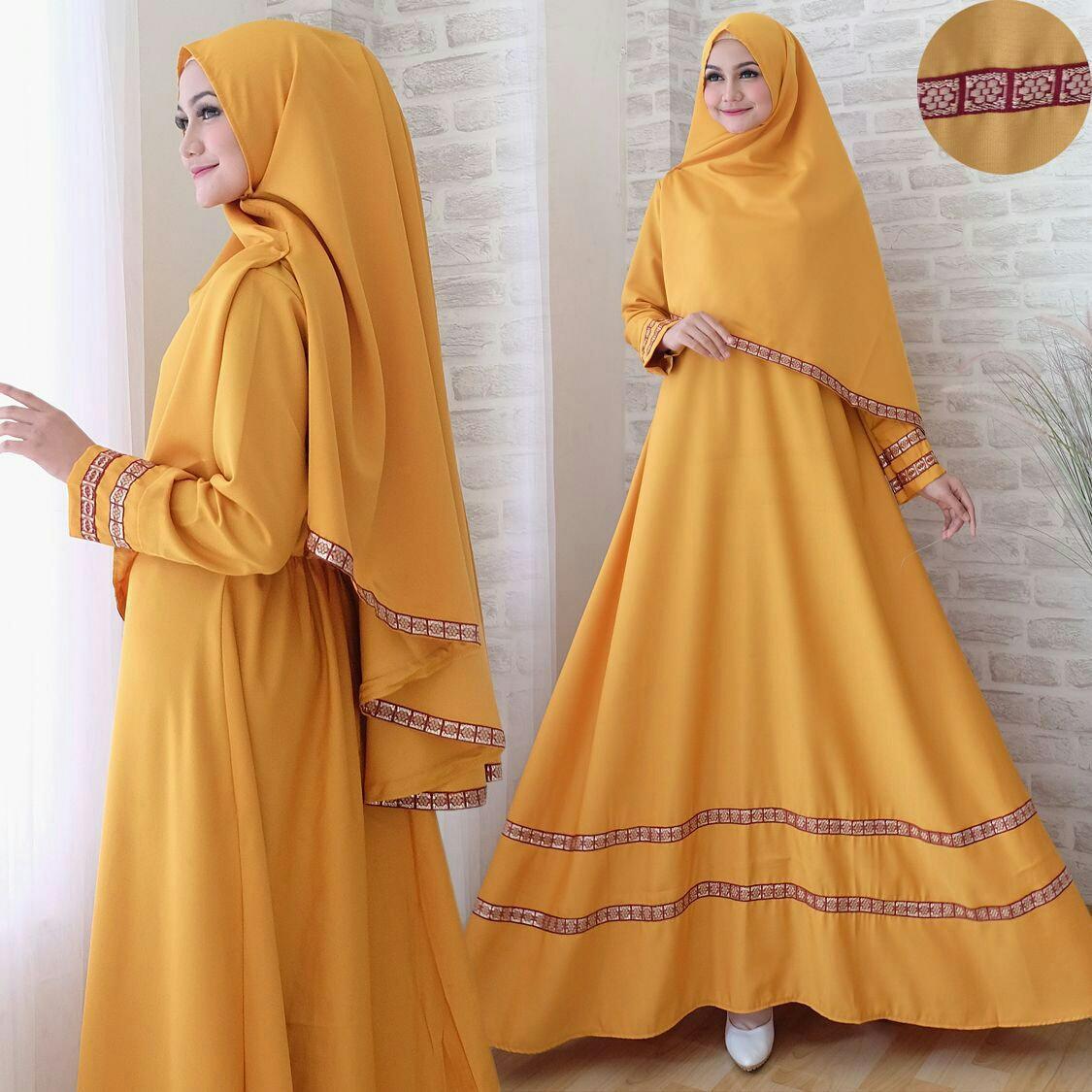 Snowshop Gamis Syari 2in1 Hayra ( Dapat JIlbab ) - Full Balotely Kombinasi Pita Songket / Maxi Muslim / Baju Muslim / Stelan Muslim / Dress Muslim / Gaun / Pasmina / Fashion Muslim / Balotelly