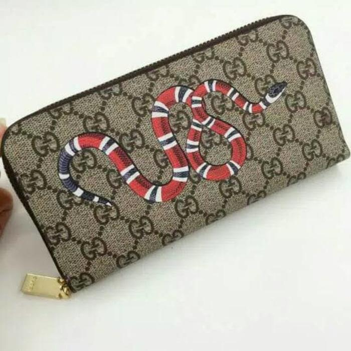 Dompet Gucci King Snake Print Leather GG Supreme Zipper Wallet Import -  xcQBaS c8e343abad