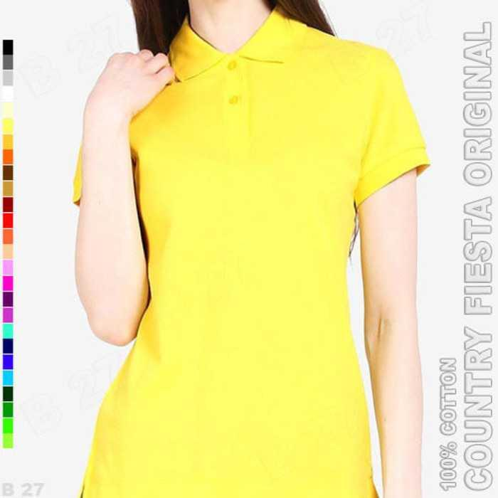 Best Seller!!! COUNTRY FIESTA Original P3-17 Kaos Polo Shirt Cewe Cotton Kuning Keren Terbaru Murah