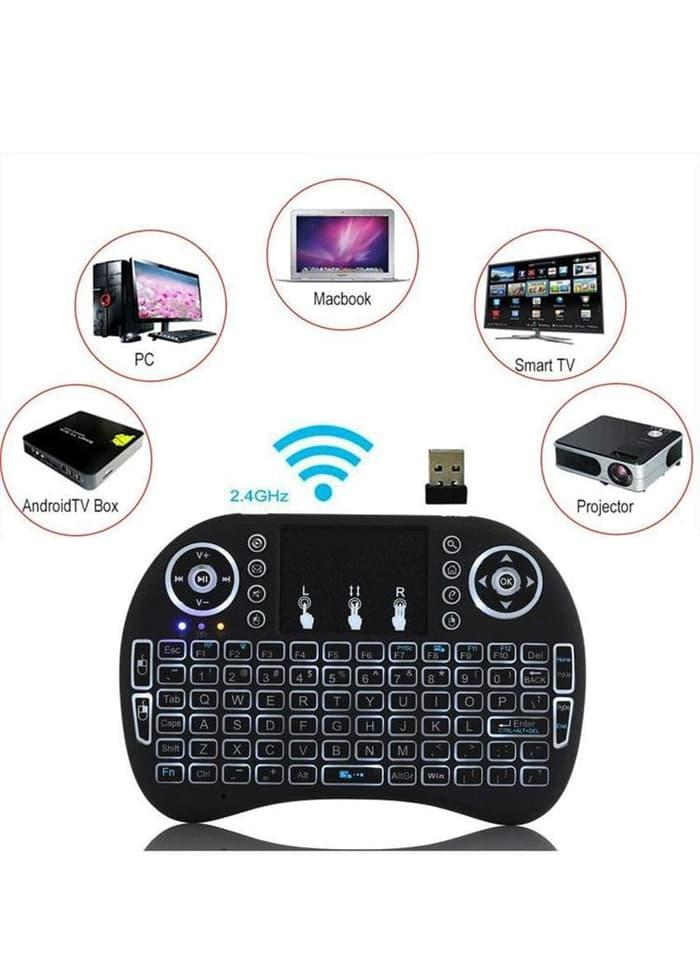 Mini Keyboard Wireless i8 Backlit lampu 2.4G For PC Android TV Box .