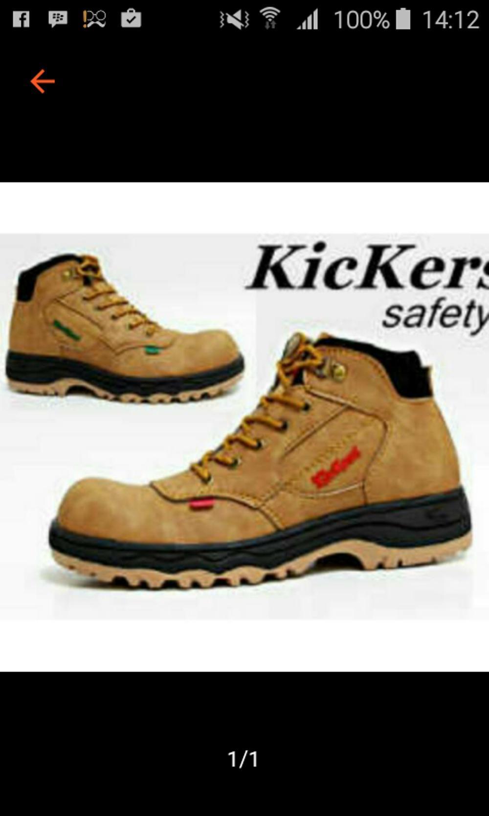 Promo Sepatu Kickers safety Boot ky Coklat muda Ujung besi Fashion