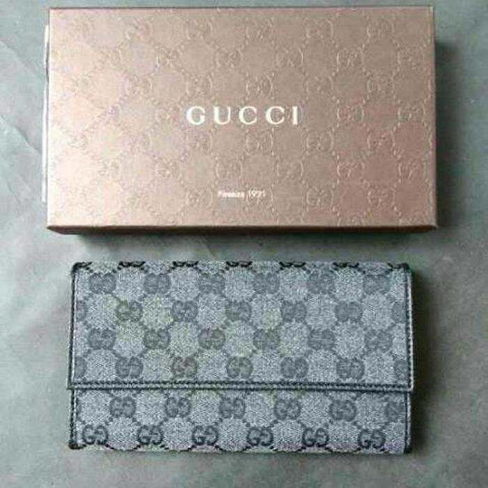 Gucci Women Wallet GG Charcoal Leather NWT. Dompet Gucci Original